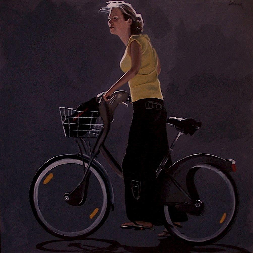 jeune femme au vélib